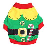 Χαμηλού Κόστους Χριστουγεννιάτικα κοστούμια για κατοικ-Γάτα Σκύλος Στολές Φανέλα Ρούχα για σκύλους Κόκκινο Πράσινο Βαμβάκι Στολές Για κατοικίδια Ανδρικά Γυναικεία Στολές Ηρώων Μοντέρνα