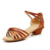 baratos Sapatilhas de Dança-Mulheres Sapatos de Dança Latina / Dança de Salão Cetim Sandália Salto Baixo Não Personalizável Sapatos de Dança Transparente / Bronze / Crianças / Couro / Couro