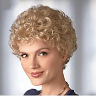 Syntetiske parykker Krøllet Blond Blond Syntetisk hår 6 tommers Dame Blond Parykk Kort Lokkløs