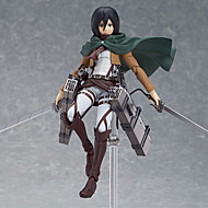 billiga Anime-cosplay-Anime Actionfigurer Inspirerad av Attack on Titan Mikasa Ackermann pvc 14 CM Modell Leksaker Dockleksak