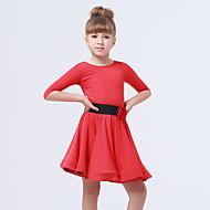 זול ביגוד ונעלי ריקוד-בגדי ריקוד לילדים שמלות בגדי ריקוד ילדים ביצועים ספנדקס פוליאסטר קפלים אבנט / סרט 2 חלקים חצי שרוול שמלה חגורה
