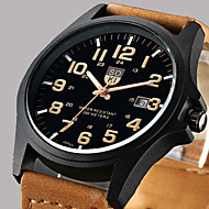 Fashion Leisure Men's Watch Calendar Leather Black Brown Band Wrist Watch Cool Watch Unique Watch