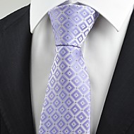 cheap Men's Accessories-New Violet Purple Gradient Checked Men's Tie Necktie Wedding Holiday Gift KT0074