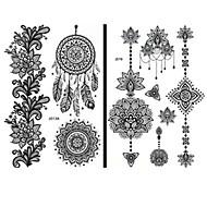 billiga Temporära tatueringar-15 pcs Tatueringsklistermärken tillfälliga tatueringar Totemserier / Blomserier Vattentät / Spets / Ogiftig Body art Ansikte / händer / arm / Mönster / Ländrygg