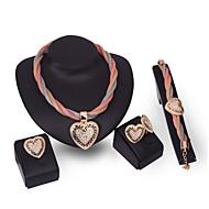 Mulheres Conjunto de jóias Strass Coração senhoras, Personalizada, Fashion, Euramerican Incluir Dourado Para Festa Parabéns Noivado / Anéis