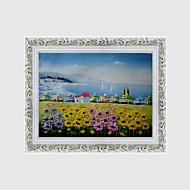 billige Innrammet kunst-Innrammet Oljemaleri Kjent Landskap Blomstret/Botanisk Veggkunst, Polystyrene Materiale med ramme Hjem Dekor Rammekunst Stue Innendørs