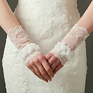 cheap Wedding Gloves-Nylon Elastic Satin Wrist Length Glove Bridal Gloves Party/ Evening Gloves With Floral
