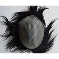 Doğal 8x10 görünümlü erkekler için süper ince deri erkek toupees görünmez knot saç değiştirme sistemi