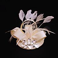 billiga Brudhuvudbonader-rhinestone feather satin fascinators headpiece klassisk feminin stil