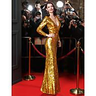 Eng anliegend V-Ausschnitt Boden-Länge Pailletten Promi-Stil Formeller Abend Kleid mit Paillette durch TS Couture®