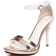お買い得  特別セール-女性用 靴 エナメル レザーレット 夏 スティレットヒール ラインストーン のために ドレスシューズ パーティー グレー レッド ゴールデン