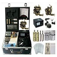 cheap Starter Tattoo Kits-Tattoo Machine Professional Tattoo Kit 2 carved machine liner & shader High Quality Analog power supply 2 x carved grip 2 x alloy grip 50