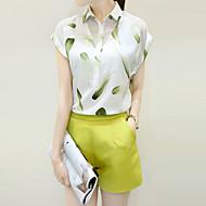 Mulheres Conjunto Casual Moda de Rua Verão,Estampado Branco Raiom / Poliéster Colarinho de Camisa Manga Curta Fina