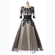 Linha A Scoop pescoço Longuette Lace Over Tulle Renda Floral Coquetel / Baile de Formatura Vestido com Apliques de LAN TING Express