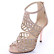Calçados Femininos-Sandálias-Saltos / Peep Toe / Bico Aberto-Salto Agulha-Azul / Roxo / Vermelho / Branco / Laranja / Amêndoa-Tecido-