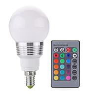 billige Globepærer med LED-2W 250 lm E14 LED-globepærer A60(A19) 1 leds COB Mulighet for demping Dekorativ Fjernstyrt RGB AC 85-265V