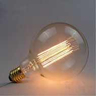 E27 AC220V-240V 40W Edison Retro Silk Carbon Filament Incandescent Light Bulbs G125 Straight Wire Pearl
