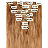 24 Inch 7pcs/set Long Synthetic Straight Clip In Hair Extensions with 16 Clips - 16 Colors Available