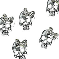 10pcs   Silver Punk Skull With 3D Rhinestone Bow Tie Nail Art Decoration