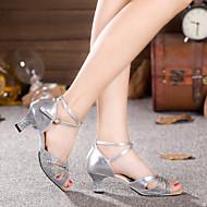 baratos Sapatilhas de Dança-Mulheres Sapatos de Dança Latina Glitter / Veludo Sandália / Salto Gliter com Brilho / Fru-Fru / Franzido Salto Cubano Não Personalizável Sapatos de Dança Prateado / Azul / Púrpura / Interior