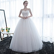 cheap Ball Gown Wedding Dresses-Ball Gown Illusion Neckline Floor Length Satin Lace Over Tulle Custom Wedding Dresses with Lace by LAN TING Express