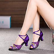 baratos Sapatilhas de Dança-Mulheres Balé / Sapatos de Dança Latina / Tênis de Dança Glitter / Sintético / Cetim Salto / Têni Pérolas Sintéticas / Gliter com Brilho / Presilha Salto Cubano Não Personalizável Sapatos de Dança