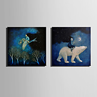 LED-lerretskunst Landskap Moderne / Europeisk Stil,To Paneler Lerret Firkantet Print Art Wall Decor For Hjem Dekor