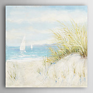 manual pictura in ulei pictat scena plaja peisaj cu rama de perete 7 arts® intins