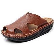 Sandály-Kůže-Pohodlné-Pánské--Outdoor Běžné-Plochá podrážka