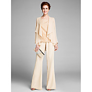 Jumpsuits / Pantsuit Scoop Neck Floor Length Chiffon Mother of the Bride Dress with Flower by LAN TING BRIDE®