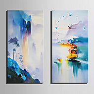 E-HOME® Colorful Mountains And Water Views Clock in Canvas 2pcs