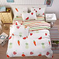Bettbezug-Sets Solide 4 Stück Polyester / Baumwolle Reaktivdruck Polyester / Baumwolle 4-teilig (1 Bettbezug, 1 Bettlaken, 2