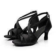 cheap -Women's Latin Shoes / Ballroom Shoes / Salsa Shoes Satin Sandal Buckle Customized Heel Customizable Dance Shoes Black / Red / Brown