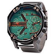 Heren Militair horloge Kwarts Kalender Dubbele tijdzones Roestvrij staal Band Luxe Cool Zilver