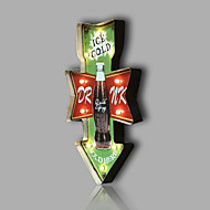 E-HOME® Metal Wall Art LED Wall Decor, ICE COLD Coke Bottle Green Arrowhead Tag LED Wall Decor One PCS