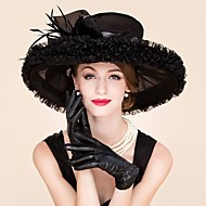 billiga Brudhuvudbonader-feather organza fascinators hattar headpiece klassisk feminin stil