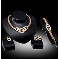 voordelige Huwelijks- & Feestsieraden-Dames Sieraden set - omvatten Ketting / Oorbel / Armband Zilver / Gouden Voor Bruiloft / Feest / Dagelijks / Ring / Ringen / Oorbellen / Kettingen
