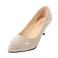 Kadın Ayakkabı Yapay Deri Bahar Yaz Sonbahar Stiletto Topuk Günlük Elbise Parti ve Gece için Siyah Gümüş Altın
