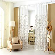 baratos Cortinas Transparentes-Dois Painéis Moderno / Neoclassicismo / Mediterrêneo / Europeu / Rústico Folha / Videira / Floral / BotânicoAzul / Dourado / Terra /