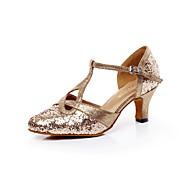 billige Moderne sko-Kan ikke spesialtilpasses-Dame-Dansesko-Latinamerikansk Salsa-Glimtende Glitter-Tykk hæl-Gull