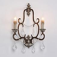 2 hoder retro Amerikansk landsbygda krystall med tre lampeholder vegglampe for foajé / korridor huset dekorere vegglampe