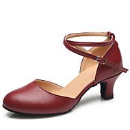 baratos Sapatilhas de Dança-Mulheres Sapatos de Dança Moderna Couro Salto Presilha Salto Robusto Personalizável Sapatos de Dança Preto / Vermelho / Interior / Ensaio / Prática