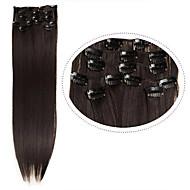 """levne Syntetické příčesky-levné vlasy klip v prodlužování vlasů syntetických 22 """"7ks / set # 4 tmavě hnědá barva 100 g tepelná odolnost rovné vlasy"""