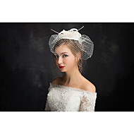 cheap Wedding Headpieces-Flax Lace Feather Net Fascinators Headpiece Classical Feminine Style