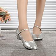 billige Moderne sko-Dame Sko til latindans / Moderne sko Lær Høye hæler Spenne Flat hæl Kan spesialtilpasses Dansesko Sølv / Gylden / Trening