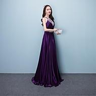 A-kroj Na vezanje oko vrata Do poda Svila Prom Formalna večer Haljina s Perlica Šljokice po TS Couture®