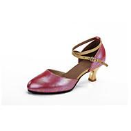 baratos Sapatilhas de Dança-Mulheres Sapatos de Dança Moderna Couro Salto Presilha / Vazados Salto Cubano Personalizável Sapatos de Dança Fúcsia / Azul / Rosa claro