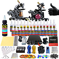 Starter Tattoo Kit 2 alloy machine liner & shader Tattoo Machine Mini power supply 28 × 5ml Tattoo Ink 2 x aluminum grip