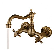 cheap Bathroom Sink Faucets-Antique Wall Mounted Rotatable Ceramic Valve Two Holes Two Handles Two Holes Antique Bronze, Bathroom Sink Faucet
