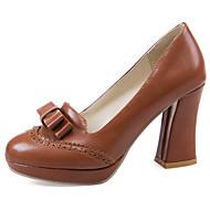 baratos Sapatos Femininos-Mulheres Sapatos Courino Primavera / Verão Saltos Salto Robusto Laço / Rendado / Combinação Preto / Bege / Marron / Festas & Noite